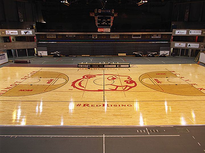 The MSU Dome floor sports a new court design; photo by Andrea Orta-Diaz
