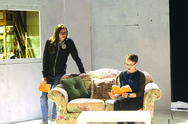 """MSU students (from the left) Kaylee Capp and Tessa Stewart rehearse for the upcoming play, """"Laugh Out Loud (cry quietly).""""  Photo by Jerusalem Tukura"""
