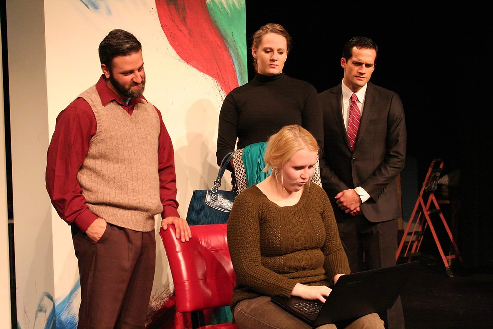"Cast members (from the left) Eric Fetske, Brenna Heupel (seated), Maddie Thompson, and Dan Fagan perform in ""God fo Carnage"""