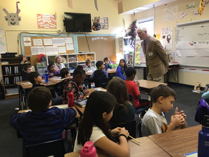 Sonny Visits his Granddaughter's School for Veteran's Day