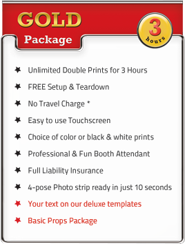 Gold 3 Hour Photo Booth Party Package