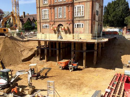 Excavating below the Transfer Slab