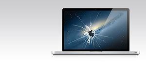 dziurawy ekran, zniszczony ekran, laptop