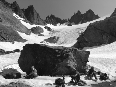 Black and white photo of hikers on Mt. Deception