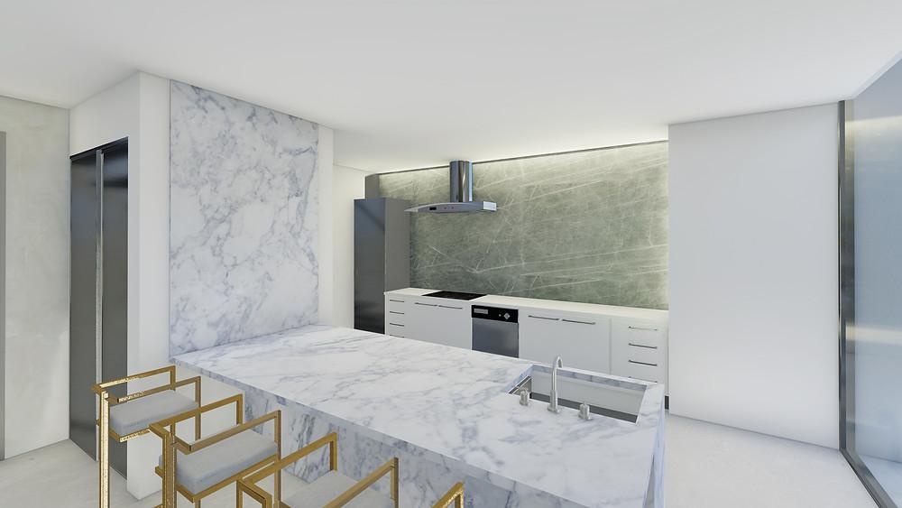 Cocina moderna con elementos y materiales clásicos como el mármol.