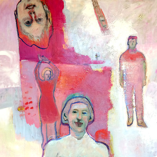 Red, pink and pale blue figurative