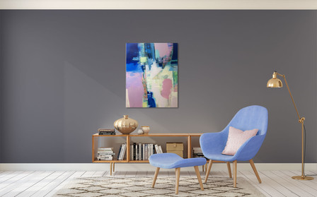 """""""Harbour"""" An abstract landscape in blue and muted pink"""