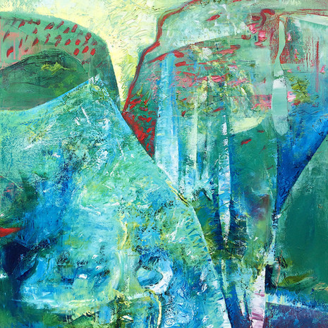 """""""Hidden under Silk"""" An abstract landscape featuring two mountains that resemble women in silken burkas"""