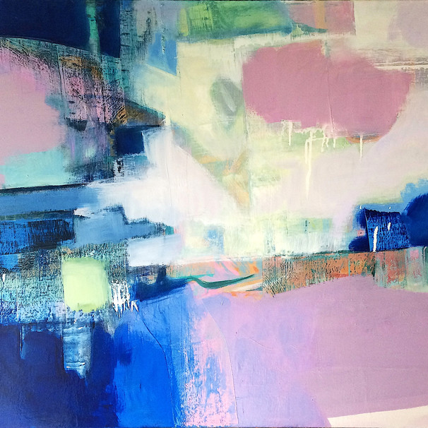 Blue and muted pink abstract art