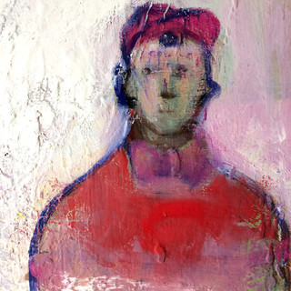 Red and pale blue figurative detail