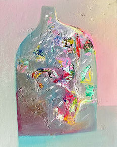 An abstract landscape painting featuring a vessel filled with colour and texture