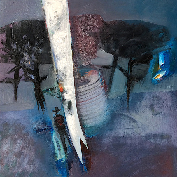 Moody blue and purple abstract art landscape with figure
