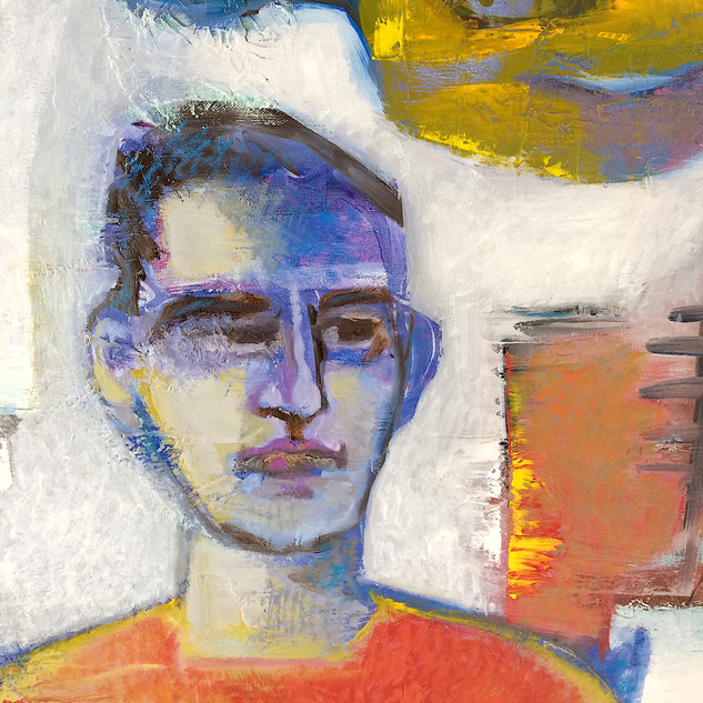 Orange, red and grey figurative abstract art detail