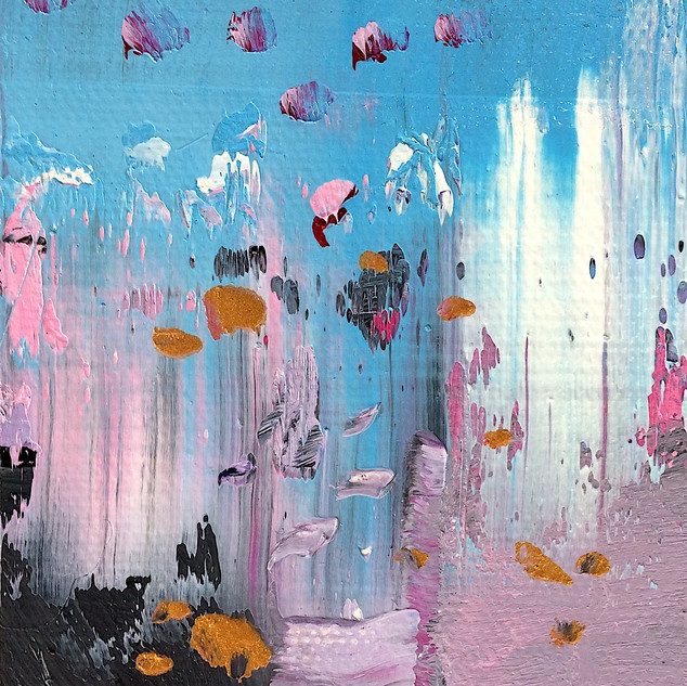 Pink, blue and grey abstract art oil painting