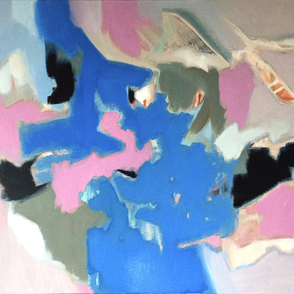 Muted pink, grey and blue abstract art