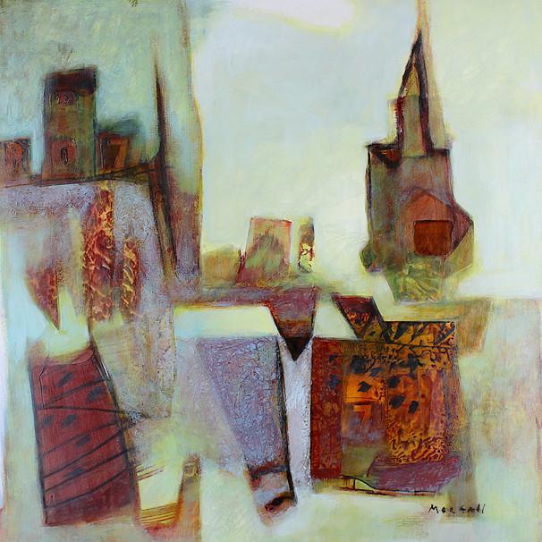 Warm grey and orange abstract art