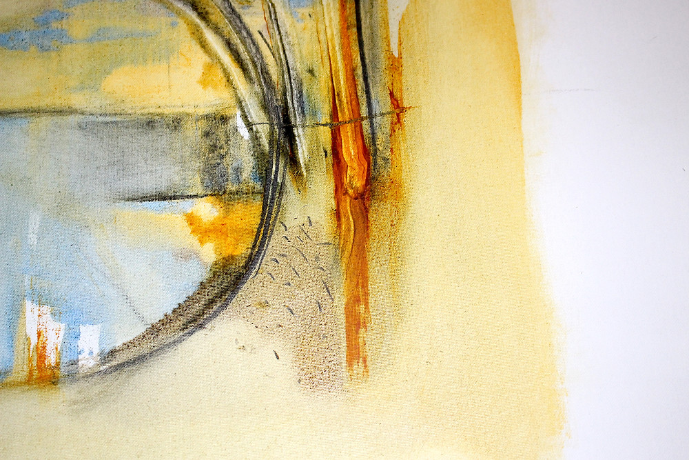 Abstract painting of marks, spaces and textures