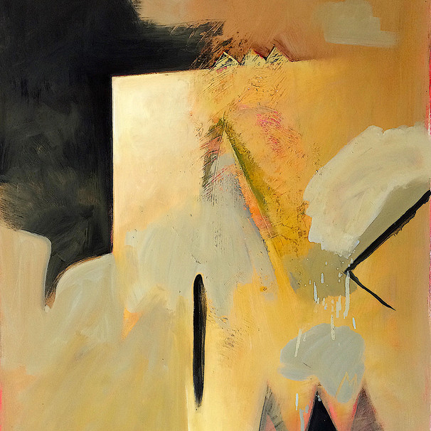 Muted yellow and ochre abstract art