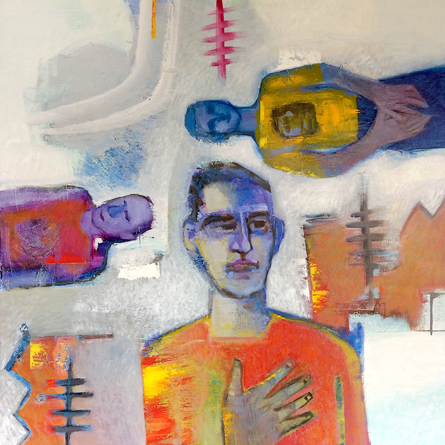 Orange, red and grey figurative abstract art