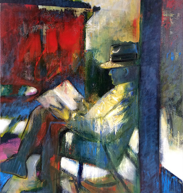 Red, green and blue figurative abstract art
