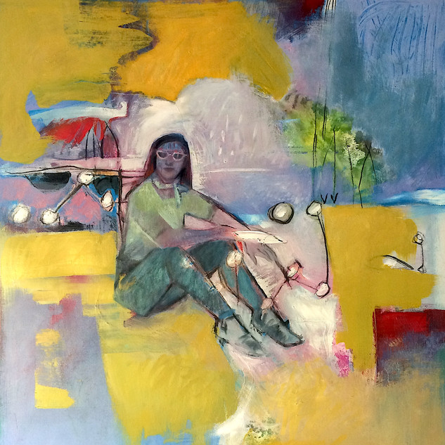 Abstract art painting of a young woman