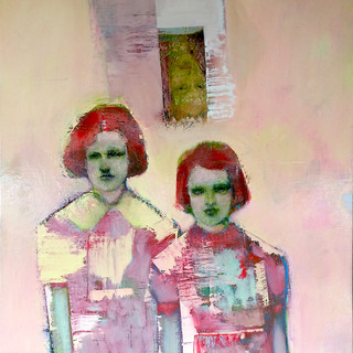 Muted pink and green figurative