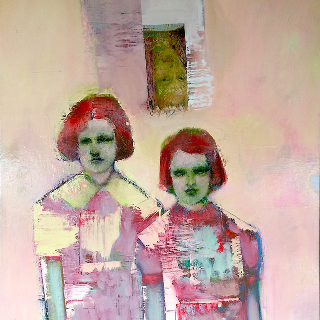 Muted pink and green figurative abstract art