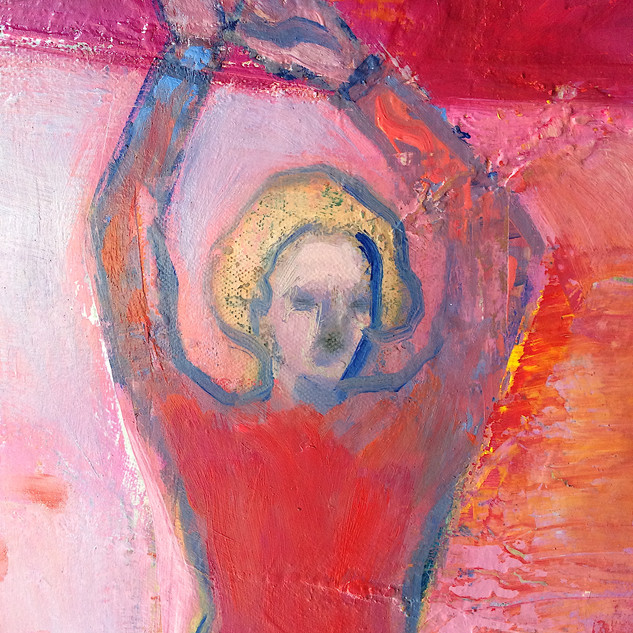Red and pink figurative abstract art detail
