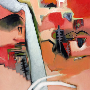 Red and pale orange abstract