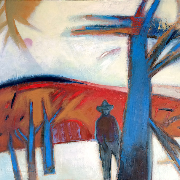 Lush red and orange abstract art landscape with male figure