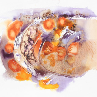 Orange and pale purple abstract