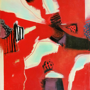 Red and pale green abstract