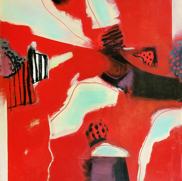 Red and pale green abstract art