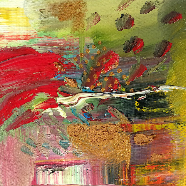 Red and gold abstract art with luscious green and muted pink