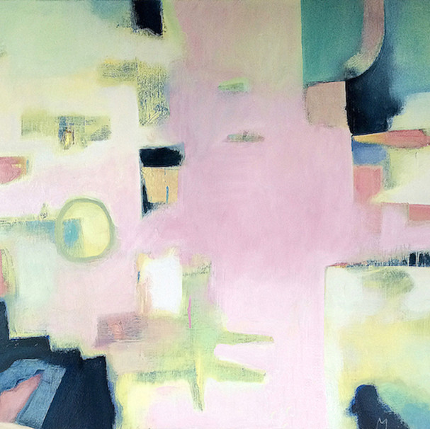 Muted pink and green abstract art