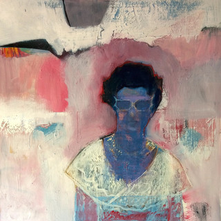 Abstract figurative painting in blues, pinks and creams