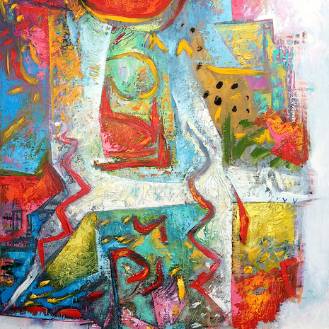 """""""Botanic Carnivale"""" An abstract landscape with garden beds and pathways found in botanic gardes"""
