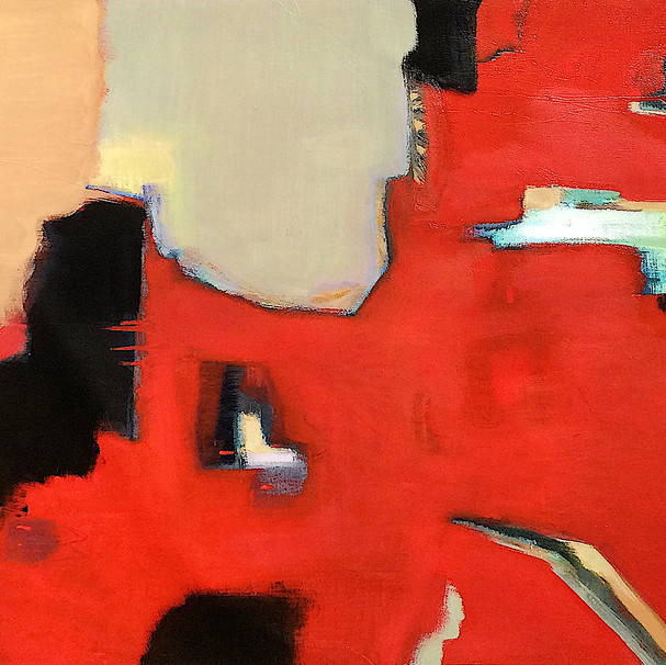 Red with black and ochre abstract art