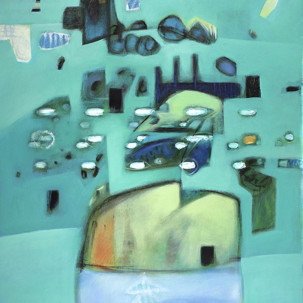 Turquoise and navy abstract art