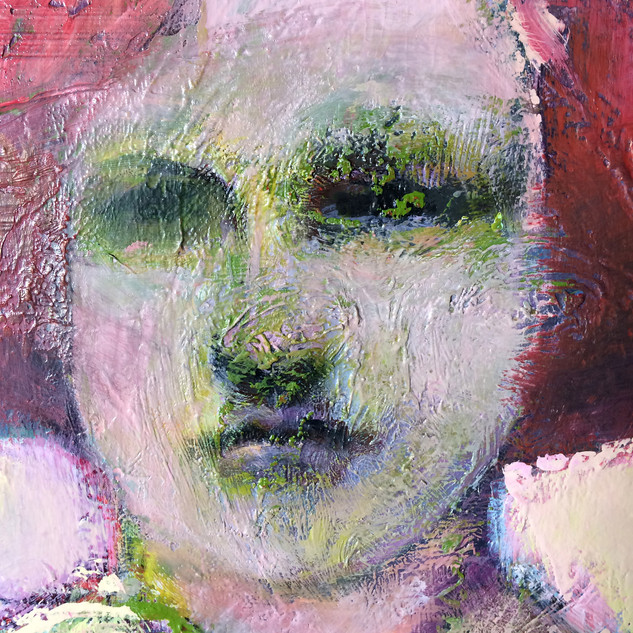 Red and green figurative abstract art detail