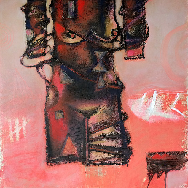 Red, black and grey figurative abstract art