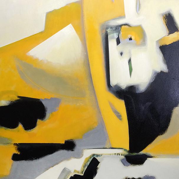 Dark yellow and grey abstract art