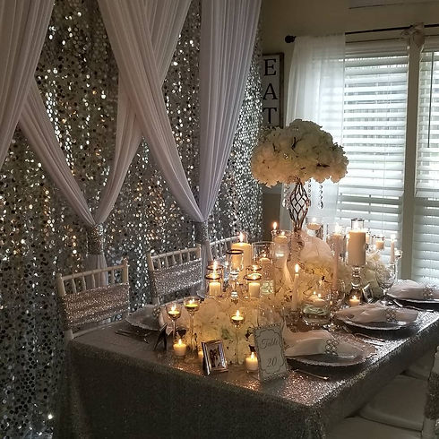 Silver and White Tablescape