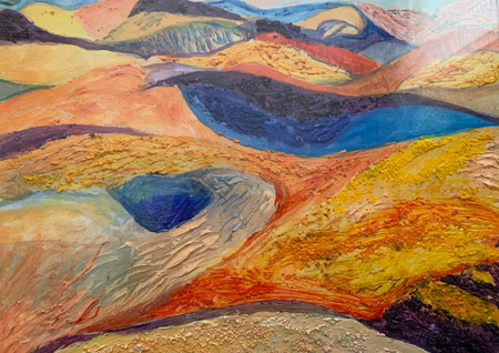 Desert Landscape (2019), Sand, Acrylic, and acrylic gel on paper, 11x13.5