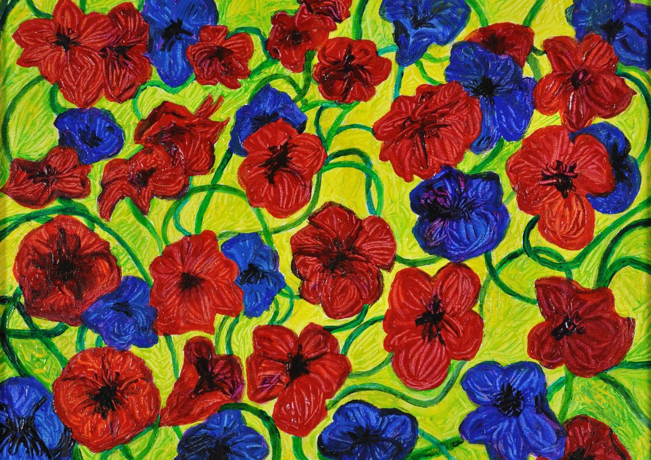 Petunias and Mandevillas (2018), Acrylic on canvas16x20