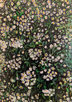 A Torrent of Daisies (2019), Acrylic on canvas, 18x24