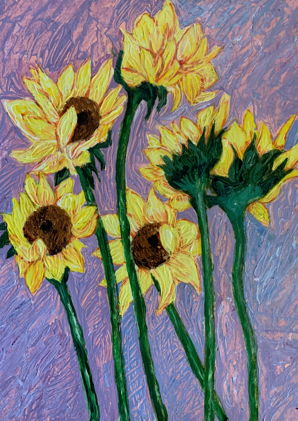 Paula's Sunflowers (2018), Acrylic on paper, 11x14