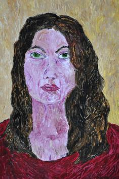 Wisdom (Self-Portrait) (2013), Acrylic on paper, 12x17 7/8