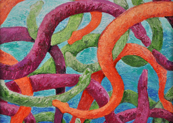 Dreaming of  Serpents I (triptych) (2014), Acrylic on canvas, 11x14