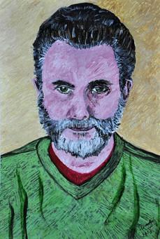 Knowledge (Dr. Gabriel Aisemberg portrait) (2014), Acrylic on paper, 12x17 7/8